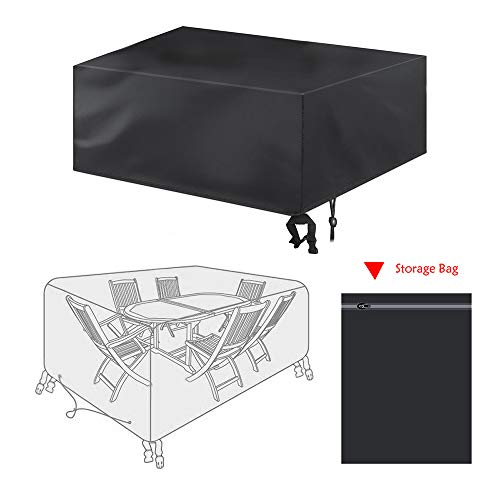 bigzzia Patio Furniture Set Cover, Rattan Cube Set Cover 420D Oxford Fabric Patio Table Cover Windproof Anti-UV with 4 Fixing Buckles for Garden Tables Chairs 170x94x70cm