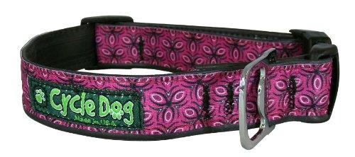 (Cycle Dog Bottle Opener Recycled Dog Collar, Fuchsia Tri, Style, Medium)