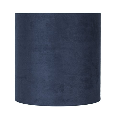 Urbanest Suede Classic Drum Lampshade, 10-inch by 10-inch by 10-inch, Navy Blue, Spider-Fitter