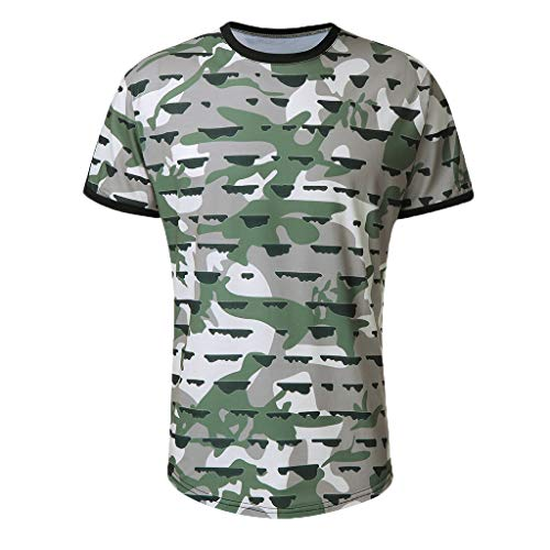 Zackate Men's Summer Slim Fit Patchwork Print Tape Short Sleeved T-Shirt Crewneck Top Green