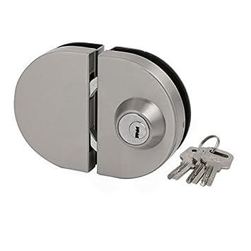 ucland 12 mm para cristal de forma ovalada Push Pull puerta corredera cerradura de plata Tone