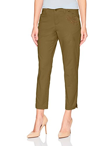 (LEE Women's Eased Fit Embroidered Tailored Chino Ankle Pant, Vintage Covert Green, 12 )