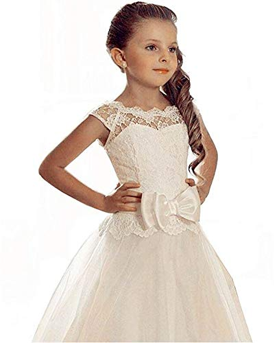 VeraQueen Girl's Lace Appliques Scoop Backless Bow Tulle Ball Gown Communion Dresses Ivory