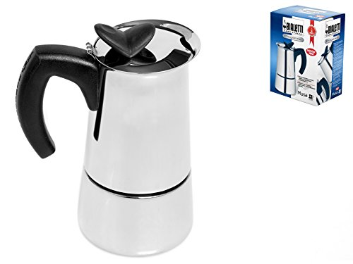 Bialetti 6956 Musa Stovetop Espresso Coffee Pot, 6-Cup, Stainless Steel