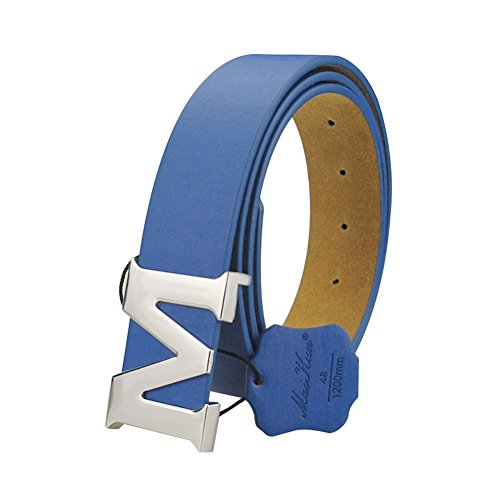 Womens Leather Belts Removable Letter M Plate Buckle Waist Belt 1.18