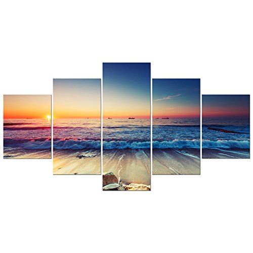 Pyradecor 5 Piece Large Modern Seascape Artwork Gallery Wrapped Ocean Sea Beach Pictures Giclee Canvas Prints Waves Paintings on Canvas Wall Art for Living Room Bedroom Home Decorations L (Art Canvas Deco Print)