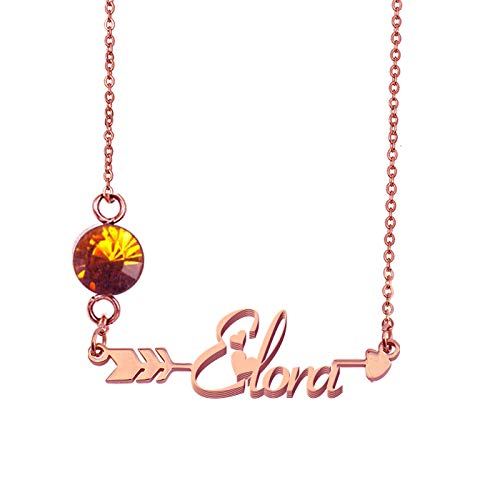 HUAN XUN Personalized My Name Arrow Monthly Necklace -