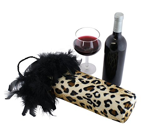 (Cheetah Animal Print Fancy Wine Bags, Fur Wine Bottle Bags, Leopard Fabric Bottle Covers with Black Feathers - Cheetah Wine Accessories and Gifts - Perfect Wine Gifts for Women)