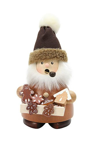 German Incense Smoker Gingerbread Salesman natural - 17,5cm / 7 inch - Christian Ulbricht by Authentic German Erzgebirge Handcraft