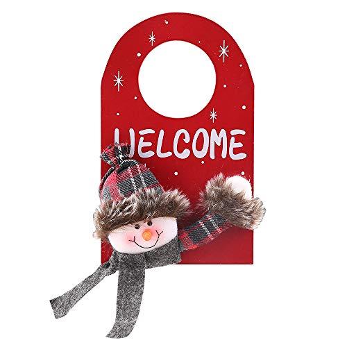 AZXAZ Christmas Door Knob Hanger Santa/Snowman/Elk Fronts Door Christmas Decoration Hanging Door Tags for KTV Bar House Xmas Supply (Snowman)