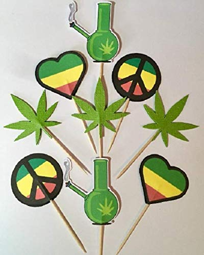 420 cupcake toppers pot leaf decorations Rasta decorations,