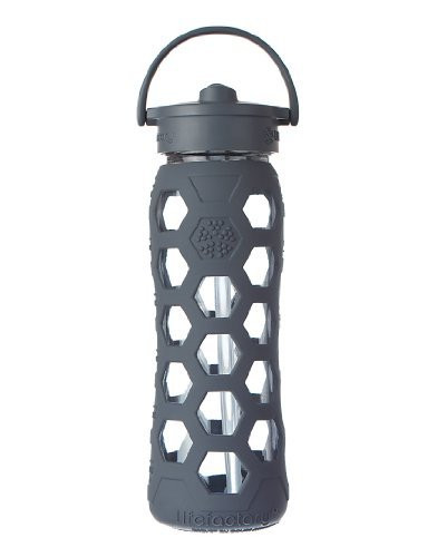 Lifefactory 22-Ounce BPA-Free Glass Water Bottle with Straw Cap and Silicone Hex Sleeve, Carbon