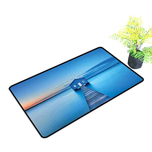 - gmnalahome Waterproof Indoor Door Mat Sunrise Over Water Lakehouse Cabin Boardwalk Sunlight Clouds Horizon Nature Blue Ora Environmental Protection Fabric W23 x H17 INCH