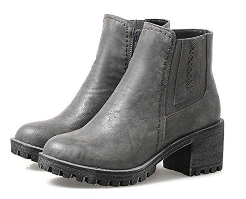 Bottes Boots Chunky Talon Low Gris Femme Classique Moto Aisun Chelsea wgvpt