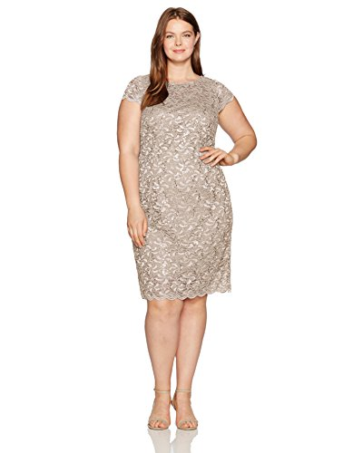 Alex Evenings Women's Plus Size Short Cap Sleeve Lace Dress