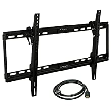 """Mount-It! MI-1121M Slim Tilt TV Wall Mount Bracket for LED LCD Plasma Flat Screen Panels for 32"""" to 65"""" (Many from 20-75"""") up to VESA 600 x 400 and 130 lbs Low Profile. 0-15 Degree Forward Adjustable Tilting Including 6 ft HDMI Cable and Leveling Bubble Fits Samsung, Sony, LG Sharp, Insignia, Vizio, Haier 26, 28, 32, 40, 42, 48, 49, 50, 51, 52, 55, 60, 65 inch TV, Black"""