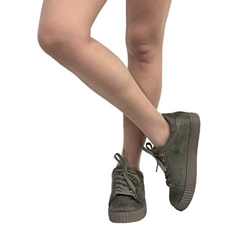 Picción 1! Zapatillas De Plataforma De Gamuza Con Cordones Para Mujer Con Punta Redonda, Imitación De Gamuza Color Caqui
