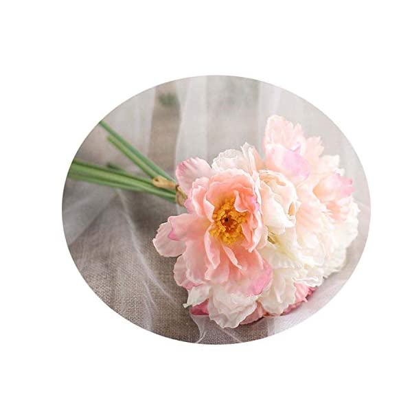 Htmeing 10 pcs 2 Heads Artificial Poppy Flowers Silk Coquelicot Rose Flowers Wedding Home Decoration Champagne