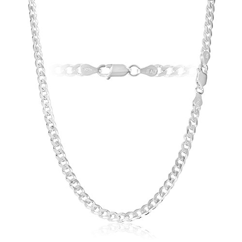 KEZEF Creations 4.5mm 925 Sterling Silver Cuban Curb Link Chain Necklace Italian 18 (Italian Sterling Silver Curb)