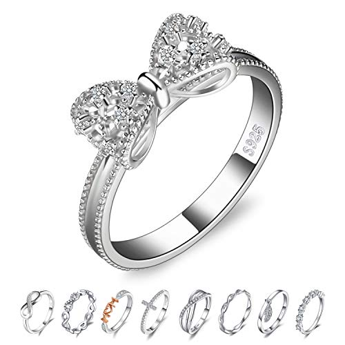 JewelryPalace Bow Cubic Zirconia Anniversary Wedding Ring 925 Sterling Silver Size 7