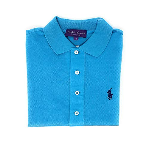 Ralph Lauren Purple Label Womens Luxury Polo Mesh Shirt Reg $350 (Sky Blue, Small)