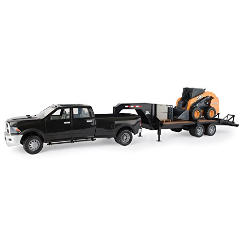 Gooseneck Set - TOMY Big Farm Case Construction Ram Truck, Skid Loader & Gooseneck Trailer Set