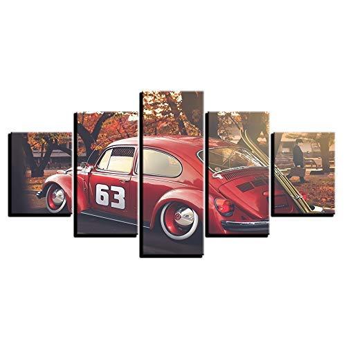 precio al por mayor Noframe 20x35 20x45 20x55cm BAIF 5 Unidades de Pintura Pintura Pintura de la Lona Decoración del Hogar de la Parojo de Impresión Modular Vintage Art Canvas Imagen 5 Panel Rojo Coche Deportivo Paisaje para la Sala de EEstrella Pintura del Cochetel  suministro de productos de calidad