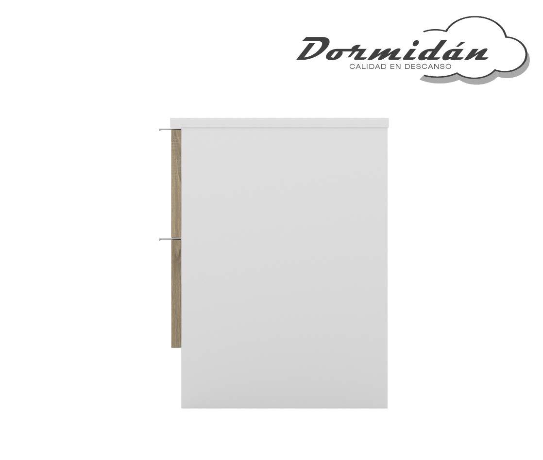 Dormidan- Mesita de Noche 2 cajones /… Medidas 40,5 x 47 x 35 cm Blanco caj/ón Roble