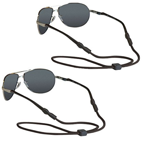 Chums Adjustable 5mm Rope Eyeglass and Sunglass Retainer / Strap, Universal Fit, Black (2 Pack) by Chums