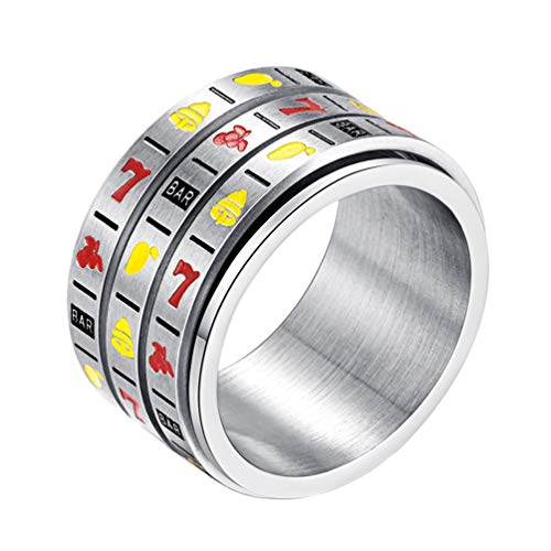 INRENG Men's Stainless Steel 14mm Wide Spinner Ring Band 3 Layers Spin Creative Slot Machine Pattern Size 10