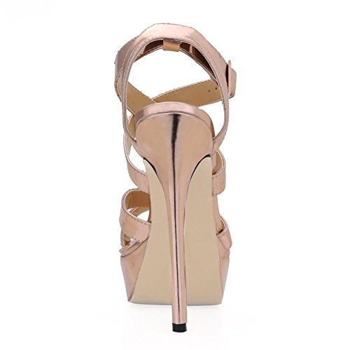 PU Bout Semelle caoutchouc talons Talon Meilleur Rose rond talon en femmes à Premium Sandales aiguille d'été 12cm pour en rond 4U Chaussures à 8S4qwZ46