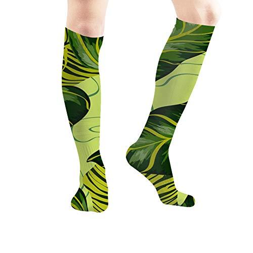 Tropical Leaves Realistic Banana Australia Nature Sport Compression Socks,Athletic Socks,Long Tube Stockings 50Cm/19.7 ()