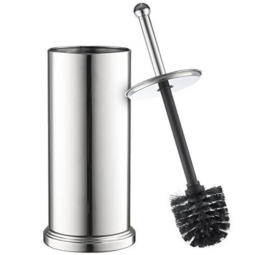 Set Chrome Toilet Brush for Tall Toilet Bowl and Toilet Brush Holder with Lid Great Toilet Bowl Cleaner ()
