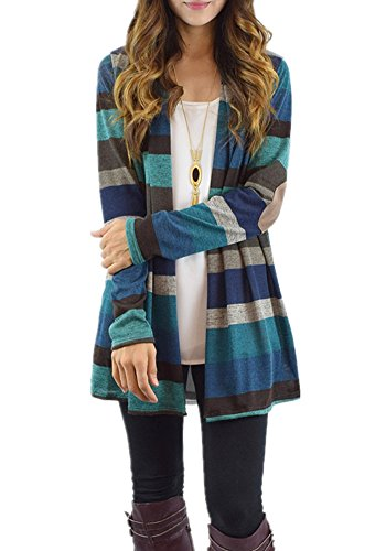 Poulax Women's Fashion Geometric Print Drape Front Cable Knit Cardigan with Pockets,N-Blue,XXL (Drape Front Knit)