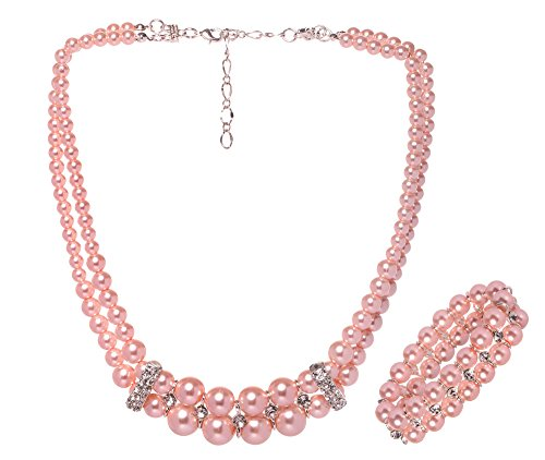 Veenajo Wedding Jewelry Sets 2 Rows Simulated Pearl Strands Crystal Necklace and Bracelet for (Homemade Infant Frog Costume)