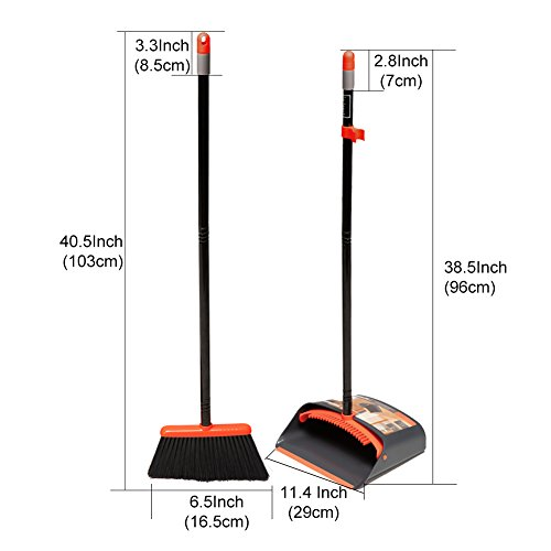 TreeLen Dust Pan and Broom/Dustpan Cleans Broom Combo with 40.5