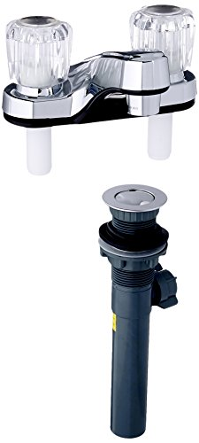 Faucet Ldr Lavatory (LDR 012 4105CP-WS Lavatory Faucet, Dual Acrylic Handle Faucet with Pop Up, AB1953-Lifetime Plastic, Chrome)