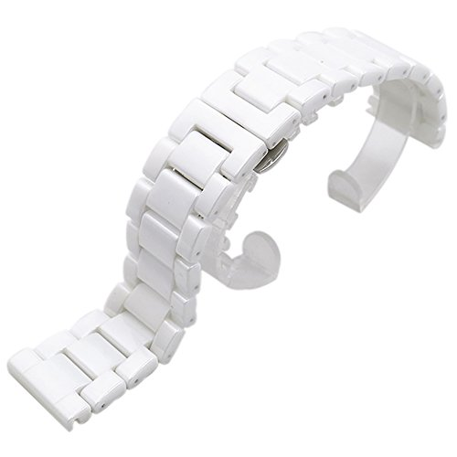 ChezAbbey White Ceramic Watch Band Replacement Deployment Clasp Watch Strap 22mm