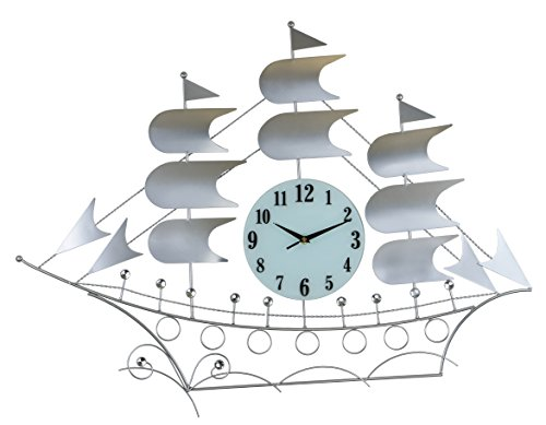 "ThreeStar Silver Sailboat Wall Clock Clear Crystal Jewel Embellishments 24"" X 34"" Modern Elegant Home Large Decorative Wall Art Battery Operated"