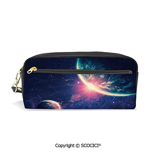 Printed Pencil Case Large Capacity Pen Bag Makeup Bag Outer Space Theme Planet Earth Mars in Space Discovery of Universe Astronomy Art for School Office Work College Travel