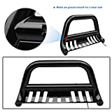 "AUTOSAVER88 Bull Bar Black Compatible for 2009-2018 Dodge RAM 1500 3"" Tubing Front Grille Brush Push Bumper Guard with Led, Include Skid Plate Light Mount"