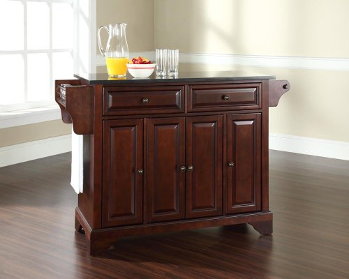 Top Mahogany Kitchen Island (Crosley Furniture LaFayette Kitchen Island with Solid Black Granite Top - Vintage Mahogany)