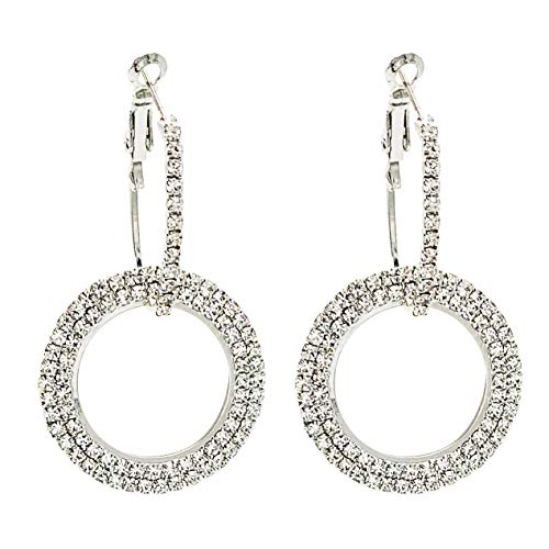 SELOVO Boho Sparkly Round Wedding Prom Hoop Drop Earrings Silver Tone Clear Crystal