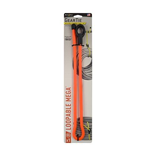 Nite Ize Original Gear Tie Loopable Mega, Reusable Rubber Twist Tie, 32-Inch, Bright Orange, Made in the USA
