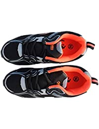 Boy's Athletic Running Casual Lace Up Sneaker (Black/Grey/Orange)