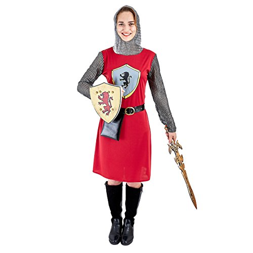 Charm Rainbow Women's Royal Knight Costume Medieval Warrior Suit with Shield(M) Red,Black -