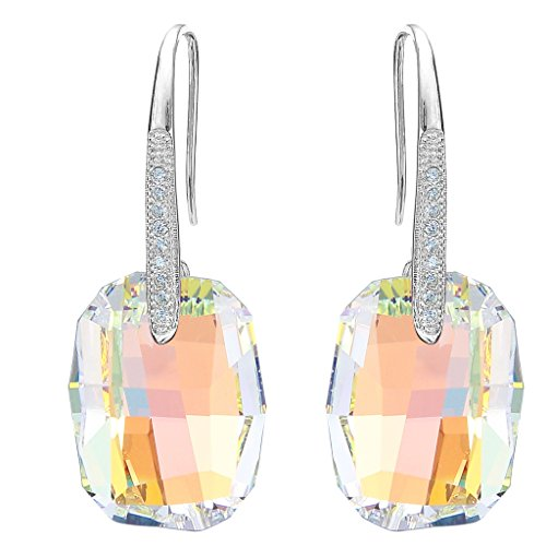 EleQueen 925 Sterling Silver CZ Rectangle Hook Drop Earrings Made with Swarovski Crystals