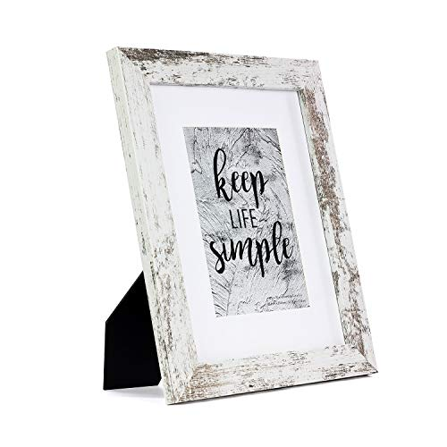 Home&Me 8x10 White Picture Frame - Made to Display Pictures 5x7 with Mat or 8x10 Without Mat - Wide Molding - Wall Mounting Material Included
