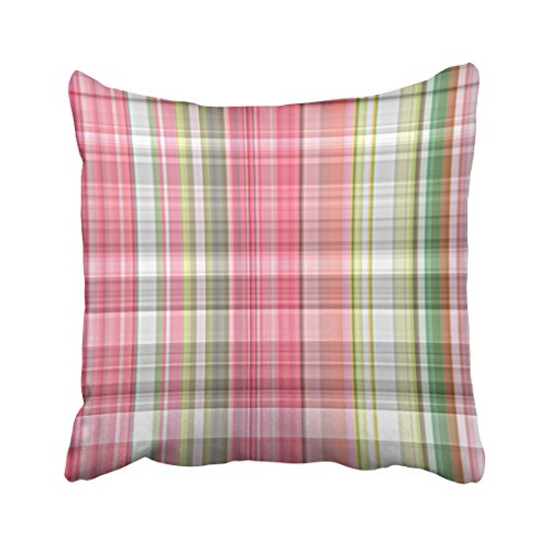 Musesh whimsical cute pastel pink green retro tartan plaid pattern Cushions Case Throw Pillow Cover For Sofa Home Decorative Pillowslip Gift Ideas Household Pillowcase Zippered Pillow Covers (Southern Textiles Square Pillow)