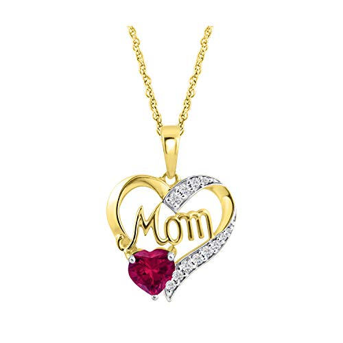 Ruby 14k Yg Clasp - Simulated Ruby Mom Heart Pendant Necklace Memorial Jewelry in 14k Yellow Gold Over